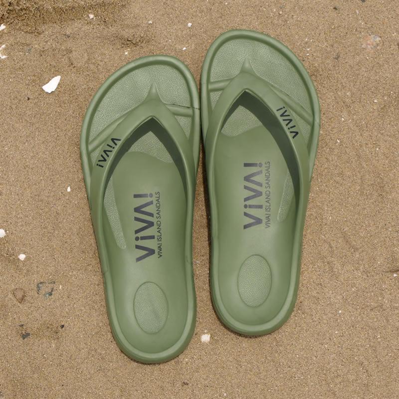 VIVA! ISLAND|ビバアイランド FLIP FLOP ビーチサンダル (カーキ)_top